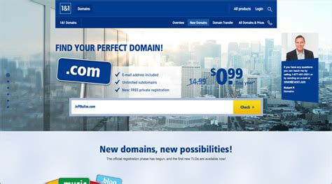 1&1 domain search screenshot for choosing the perfect name